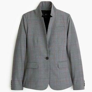 NEW J. CREW regent blazer gray glen plaid wool 0